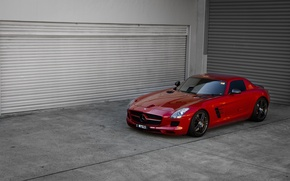 Picture red, reflection, red, front view, mercedes benz, sls amg, Mercedes Benz, tinted, SLS AMG, black …