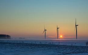 Picture field, sunset, windmills