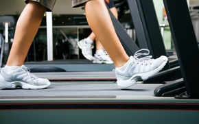 Wallpaper workout, training shoes, treadmill