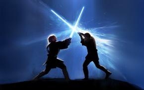 Wallpaper star wars, fight, lightsabers