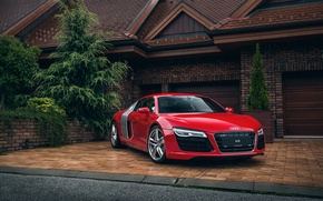 Picture audi, red, house, garage