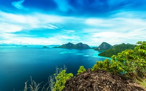 Picture sea, the sky, clouds, trees, mountains, tropics, stones, rocks, coast, horizon, the bushes, the view …