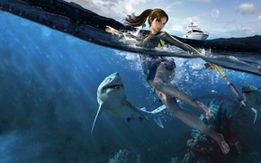 Picture water, shark, yacht, lara croft, tomb raider underworld