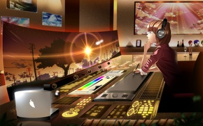 Picture girl, sunset, anime, headphones, screen, skyt2