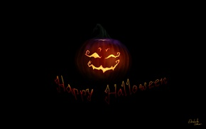 Wallpaper holiday, the inscription, art, Halloween, pumpkin, black background
