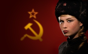 Picture girl, flag, USSR, hat