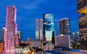 Picture night, city, the city, lights, lights, FL, USA, USA, Miami, night, Florida, Miami