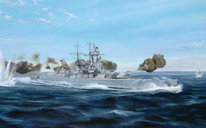 Picture ship, art, Navy, military, battleship, German, WW2, pocket, Admiral Graf fon Shpee, Navy, pocket battleship