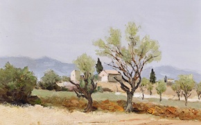 Picture picture, house, mountains, Marcel Dyf, Almond Trees and the Tower of Egalieres, trees, landscape