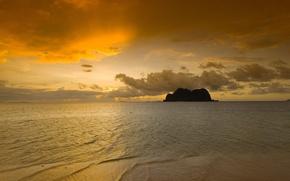 Wallpaper sea, nature, rock, sunrise