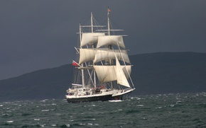 Picture waves, sea, fog, haze, Lord Nelson, Traditional Boats & Tall Ships Southampton