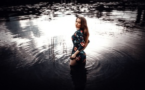 Picture girl, dress, legs, in the water