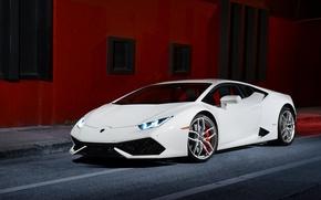 Picture Lamborghini, Front, White, Smoke, Supercar, Huracan, LP610-4, Ligth