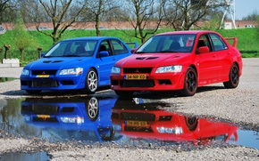 Picture Mitsubishi, Lancer, Red, Blue, Evolution VII, &