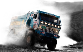 Picture Squirt, KAMAZ, Water, Machine, Truck, The front, Rally, Sport, Blue, Rally, KAMAZ, Dakar, Race