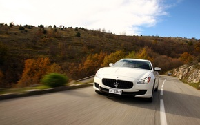 Picture The sky, Autumn, White, Maserati, The front, Massaerati, Quatroporte