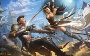 Wallpaper weapons, the game, Shadow fight 3, girl, art, guy, armor