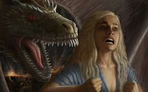 Picture girl, emotions, dragon, art, rage, A Song of Ice and Fire, Game Of Thrones, A …