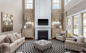 Picture design, style, lamp, carpet, picture, TV, chairs, fireplace, sofas, living room