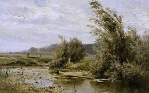 Picture trees, nature, picture, Carlos de Haes, Landscape with a Pond
