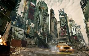 Picture Apocalypse, New York, devastation, taxi, skyscrapers