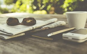 Picture coffee, glasses, handle, Cup, newspaper, Notepad, photo, photographer, smartphone, markus spiske