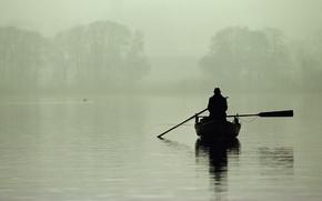 Wallpaper fog, morning, fisherman, lake, boat