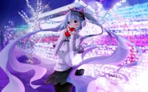 Picture winter, girl, anime, headphones, art, vocaloid, hatsune miku, heart, kuroi