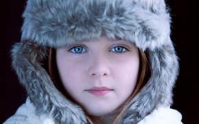Picture photo, hat, girl, blue-eyed