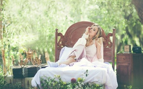 Picture girl, style, bed, candles, Dreams, Liza Esther Mikrukova