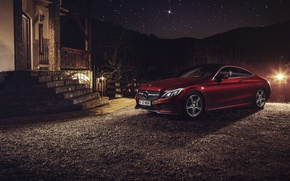 Picture car, night, Mercedes Benz, Coupe, C Class, Ciprian Mihai