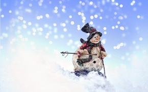 Picture snow, New Year, Christmas, snowman, Christmas, New Year, Xmas, Merry, 2016