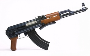 Picture White, Trunk, Background, Weapons, Kalashnikov, Machine, Folding, The AKS-47