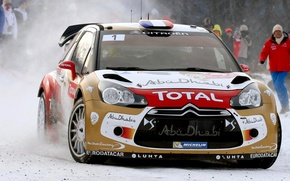 Picture Winter, Auto, Sport, Machine, People, The hood, Citroen, DS3, WRC, Rally, Rally, The front, Fans