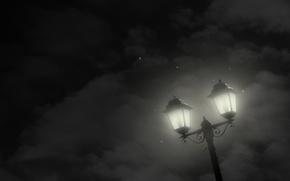 Picture stars, clouds, night, minimalism, Lantern