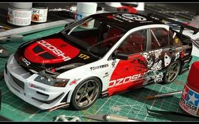 Picture Mitsubishi, Evo IX, 3D Car, Mini Model, Coloring