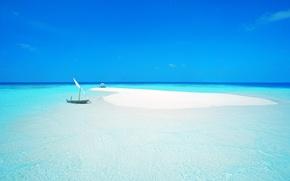 Picture boat, island, umbrella, beach, the Maldives, sand, sea, the ocean, the sky, chair, sail