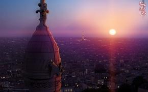 Picture girl, the sun, sunset, the city, lights, Eiffel tower, anime, roof, bear, art, guy, miharu