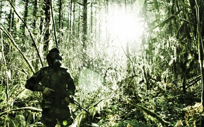 Picture forest, weapons, machine, gas mask, male, camouflage