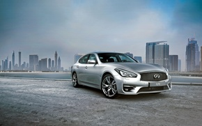 Wallpaper 2015, Infiniti, pier, sedan, Q70, the city, infiniti