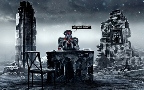 Picture table, portrait, art, chair, gas mask, captain, ruins, romance of the Apocalypse, romantically apocalyptic, alexiuss