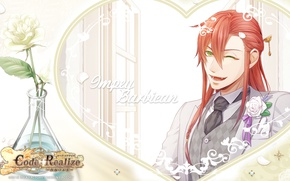 Picture background, the game, anime, art, red, guy, Code Realize