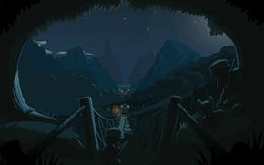 Picture mountains, night, bridge, lights, castle, ambush, Mini Ninjas