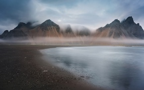 Picture sea, mountains, fog, morning