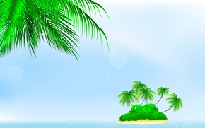 Picture sea, palm trees, island, the bushes, bushes, palm trees, sea island