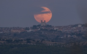 Picture moon, cathedral, Madrid, church, Camporeal, super moon