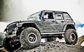 Wallpaper jeep, wheel, dirt, suspension