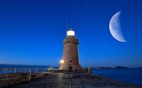 Picture light, moon, twilight, sea, ocean, seascape, dusk, lighthouse, bay, blue hour