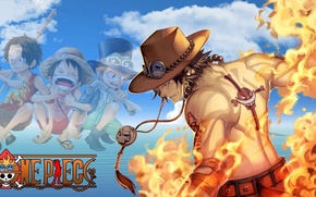 Picture fire, sake, flame, logo, game, One Piece, sky, pirate, hat, anime, cloud, tatoo, captain, asian, …