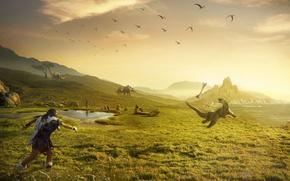 Wallpaper grass, Dinosaur, bone